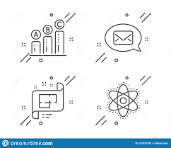 Graph Chart Messenger And Architectural Plan Icons Set