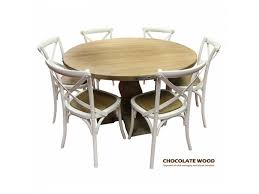 utah mango wood round dining table 5 white cross back dining chairs dia 135cm