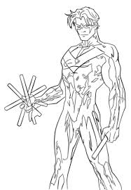 young justice nightwing coloring page