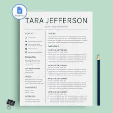 Google Docs Resume Template Cv Template Tara Jefferson Miodocs