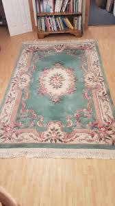 chinese rug aubusson handknotted sculpted fringed green 8 x 5