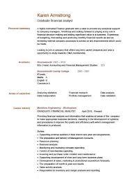 Cv Template Samples Graduate Financial Analyst Cv Sample Advice On Mortgages Finance