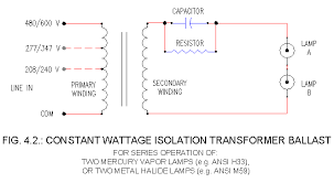 hid ballasts schematics cw 1 and 2 lamp ballasts ecn electrical Mercury Vapor Ballast Wiring Diagram similar to the schematic in fig 4 1 above, except this one is for operation of two mv or mh lamps in series mercury vapor light ballast wiring diagram
