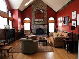 warm living room ideas:  attractive stone fireplace wall panel with best color red wall paint schemes and best brown catnapper creative decors of painting wall living room ideas