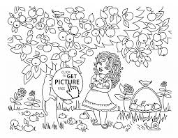 Girl And Apple Tree Coloring Page For Kids Fruits Coloring Pages