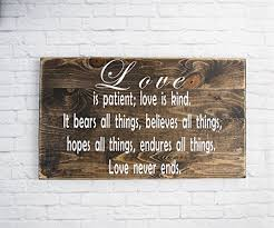 bible verse wall art love is patient sign wood sign sayings wedding gift on bible verses about love wall art with amazon bible verse wall art love is patient sign wood sign