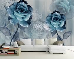 Beibehang Custom 3d Behang Aquarel Kleur Blauw Mooie Bloem Tv