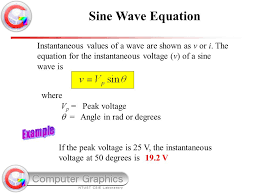 sine wave equation instantaneous values of a wave are shown as v or i the