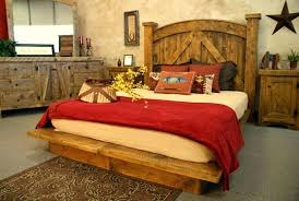 Rustic Wood Queen Bed Western Style Bedroom Furniture Full Size Log ...