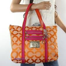 NWT Coach Poppy Signature OP Art Glam Tote Shoulder Bag 13826 Orange Pink  NEW