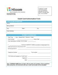 Credit Card On File Form Templates Credit Card Authorization Forms Hloom