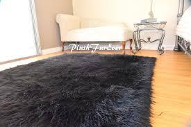 5 x6 faux fur rug rectangle area rug black gy premium furry rug