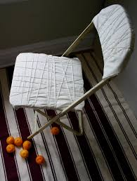 shabby chic diy white fabric cover for old and vintage metal folding chairs ideas