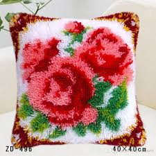 2019 pillows diy needlework kits unfinshed crocheting yarn mat latch hook rug kit roses floor mat lovely flowers rugs and carpets from hayoumart6