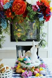 easter table decorations chandelier wreath table