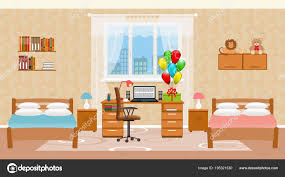 Kinder Schlafzimmer Innenraum Mit Zwei Betten Urlaub Ballons