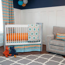 3 pc luxury mini crib bedding orange and blue