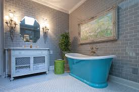bathroom gray subway tile. Grey Subway Tile Bathroom With Blue Freestanding Bathtub Under Craved Frame Painting And White Vanity Gray L