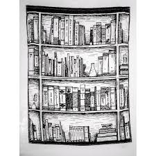 書櫃100125cm 黑白素描漫畫前衛文藝搖滾 藝術 掛布 布掛 門簾 桌布野餐墊沙灘巾蓋布掛毯 房間布置 房間裝飾
