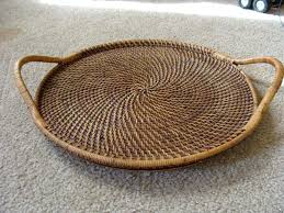 wicker serving trays pampered chef woven selections round wicker rattan handled serving tray antique wicker serving