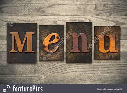 The Word Menu Menu Concept Wooden Letterpress Type Picture