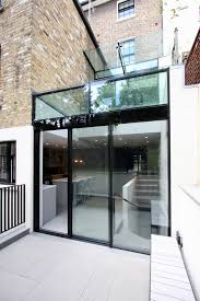 how to incorporate slim frame sliding glass doors in side fill extensions
