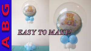 its a boy baby shower decorations diy double bubble balloon centerpiece tutorial idea