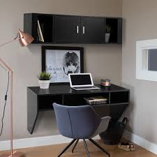 wall office desk. Charming Wall Mount Office Desk For Your Design: Amazing Black Wood