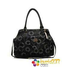 Coach Waverly Monogram Large Totes Black In