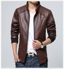 business casual leather jacket fashion slim men blue back leather jacket m 4xl skin jacket men
