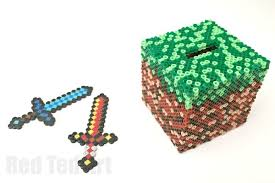 minecraft crafts diamond sword perler beads red ted art s blog minecraft perler bead pattern moneybox pattern idea a fun and practical minecraft craft