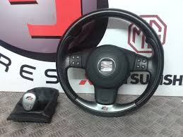 seat ibiza fr 3 spoke black leather multifunction steering wheel with airbag 1 of 7free
