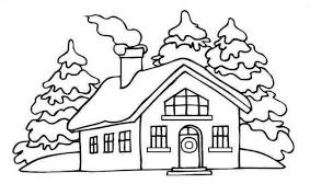 Small Picture Coloring Pages Winter House Coloring Pages