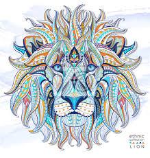 Fototapeta Vzorované Hlava Lva Na Pozadí Grunge Africká Ind Totem