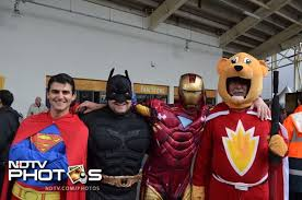 champions trophy comic heroes day out at rainy cardiff batman superman iron man