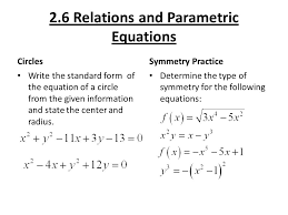2 2 6 relations and parametric equations circles