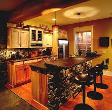 Rustic Basement Bar Ideas With Wooden Barstools And Cool For Models Design
