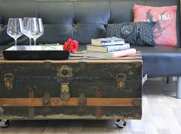 trunk table furniture. DIY Repurposed Trunk Coffee Table Furniture