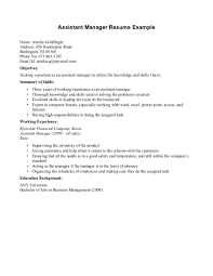 Outstanding Resume Example With Working Experience And Summary Of Skills  For Applying Assistant Manager Position