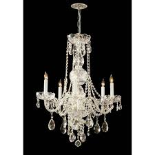 crystorama lighting group traditional polished brass five light swarovski strass crystal chandelier