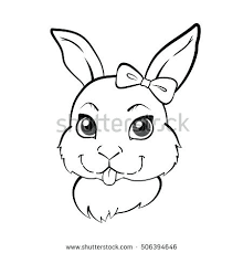 Imagination Bunny Face Outline Cute Girl Illustration Stock Vector