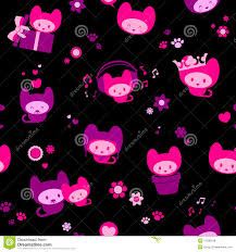 cute pink and black wallpaper. Cute Pink And Black Backgrounds Seamless Kitten Throughout Wallpaper