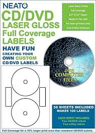How To Label Dvds Amazon Com Neato Cd Dvd Laser Gloss Full Coverage Labels 50