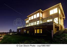 view modern house lights. House With Lights On. NIght View - Csp19851867 Modern