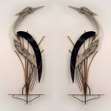 >elegant pair of herons wall sculpture