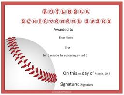 softball award certificate softball award certificate template images gallery award