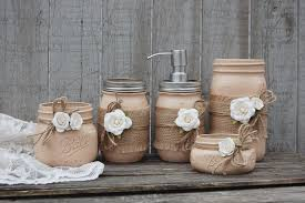 Shabby chic mason jar bathroom set. Hand painted in coffee brown ...