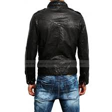 men s new fashion lambskin black leather cargo pocket biker jacket
