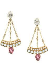 dubini sophia chandelier 18kt gold earrings pink