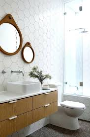 octagonal bathroom tile white hex tiles on the floors look cool with warm wood touches hexagon octagonal bathroom tile